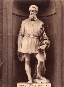 Statue Cellini Italian Genius old Alinari Photo 1880