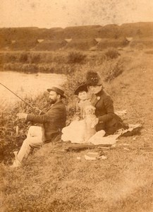 Sunday Fishing Family Day Belgium old Photo 1888