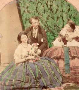 Flower bouquet England Scene de Genre Stereo Photo hand colored 1860