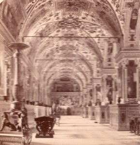 Vatican Library Roma Italy old Stereo Photo 1895