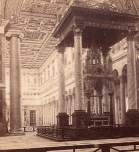 Altar St Paul Church  Roma Italy old Stereo Photo 1895