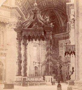 Altar St Peter Church Roma Italy old Stereo Photo 1895