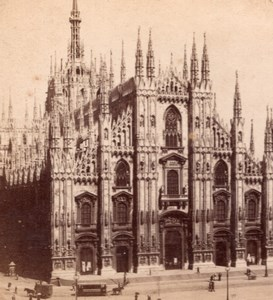 Cathedrale Facade Milano Italy old Stereo Photo 1895