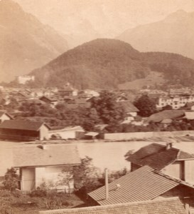 Interlaken Jungfrau Switzerland old Stereo Photo 1895