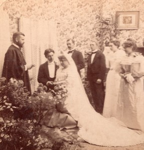 Nuptial Ceremony Benediction old Stereo Photo 1895