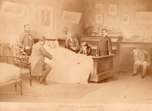 Mort de Leon Gambetta Paris old Cabinet Card CC Photomontage 1882