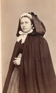 Belgium Lady Traditional Fashion old Photo 1870