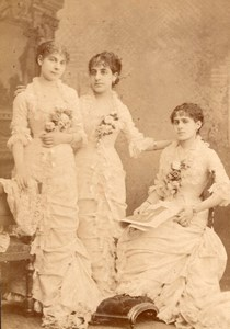 Three Sisters Violinist Teuffel France Cabinet Card Photo CC 1880