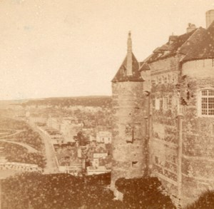 Castle & Beach Dieppe Old Valecke Stereoview 1865
