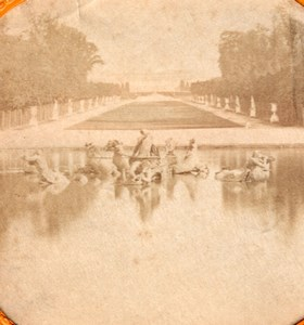 Versailles Park France Old Tissue Stereoview Photo 1865