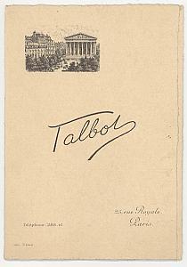 Photographic Studio Talbot Card Publicity Paris 1910