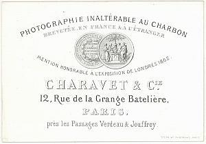 Photographic Studio Charavet Paris Card Publicity 1862