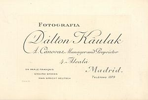 Photography Studio Dalton Kaulak Visit Card Madrid 1900