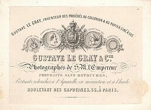 Photograph Pioneer Gustave Le Gray Business Card 1858