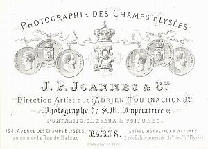 Photographic Studio Ad Tournachon Porcelaine Card 1861