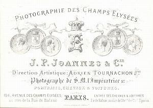 Photographic Studio Ad Tournachon Porcelaine Card 1861