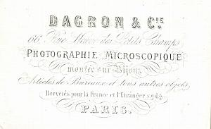 Photographic Studio Dagron Paris Porcelaine Card 1861