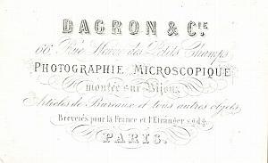Photographic Studio Dagron Paris Porcelaine Card 1861