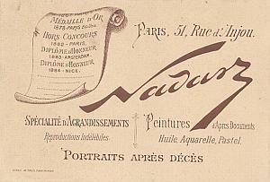 Photographic Studio Nadar Card Publicity Paris 1885