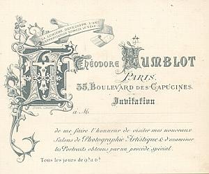 Photographic Invitation Card Humblot Studio Paris 1880