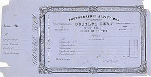 Photography Studio Invoice Gustave Levy Paris 1860