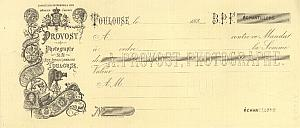 Photograph Studio Invoice Antoine Provost Toulouse 1880