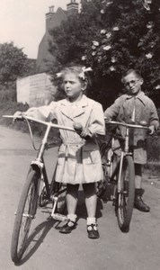 Amateur Snapshot Kids Bicycle France Old Photo 1948