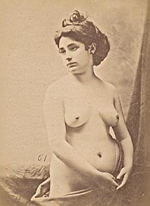 Nude Woman Risque Italy Old Cabinet Card Photo CC 1890