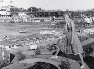 Woman Model Fashion City Miniature old Photo 1965