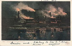 Landing Air Ship 1907 Pittsburgh USA Leblanc signed PC