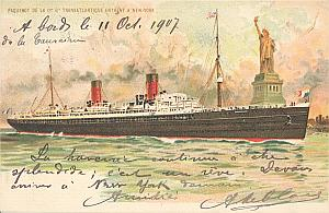 Gordon Bennett Cup 1907 New York USA Leblanc signed PC