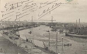 Landing Air Ship Albatros 1906 Nantes Leblanc signed PC