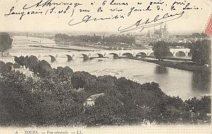 Landing Air Ship 1907 Langeais Tours Leblanc signed PC