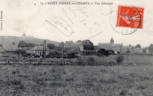 Saint Pierre es Champs Balloon Flight Aeronaut Bastier 2 signed Postcards 1908