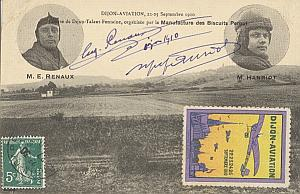 Dijon French Aviation Hanriot Renaux signed PC 1910