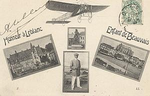 Beauvais Early French Aviation Leblanc signed PC 1910