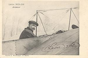 Early French Aviation Leon Molon signed PC 1910