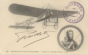 Bourges Early French Aviation Paillette signed PC 1910