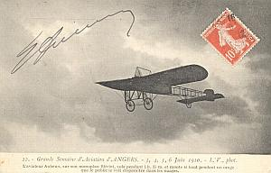 Angers Early French Aviation Aubrun signed PC 1910
