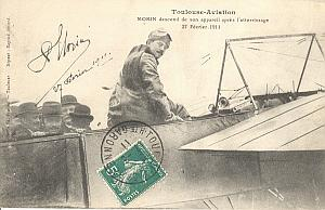 Toulouse Early French Aviation Morin signed PC 1911