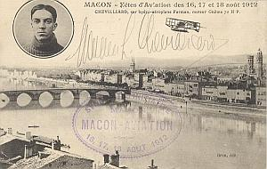 Macon Early French Aviation Chevilliard signed PC 1912