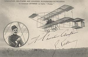 Farman Early French Aviation Letheux signed PC 1912