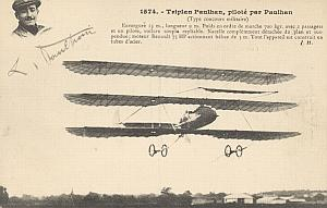 Early French Aviation Triplan Paulhan signed PC 1911