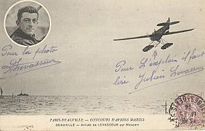Deauville Early French Aviation Levasseur signed PC 14'