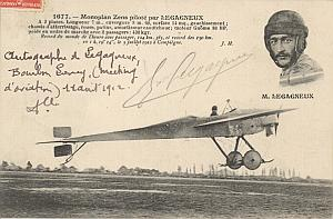 Bourbon Lancy Early Aviation Legagneux signed PC 1912