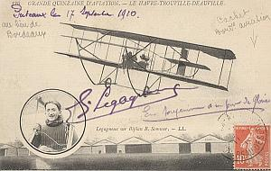 Trouville Early French Aviation Legagneux Signed PC 10'