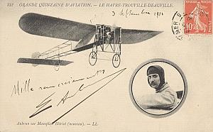Trouville Early French Aviation Aubrun Signed PC 1910