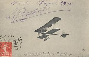 Reims Early French Aviation Bathiat Signed PC 1910
