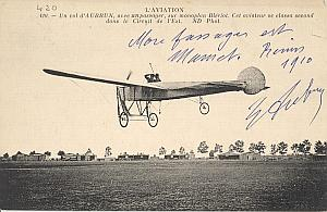 Reims Early French Aviation Aubrun Signed PC 1910