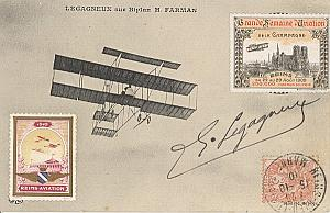 Reims Early French Aviation Legagneux Signed PC 1910